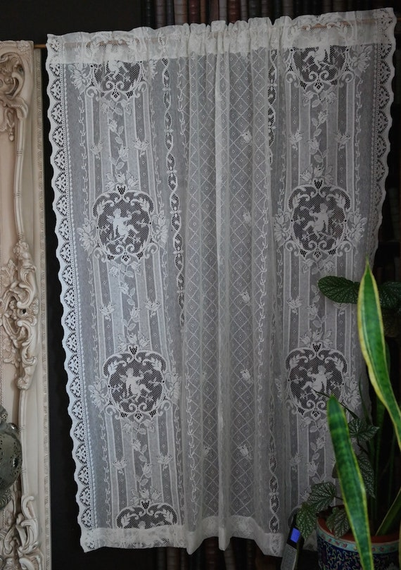 cherub angel cream cotton lace curtain antique by