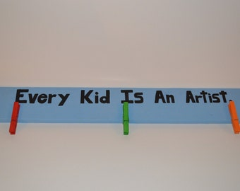 Child's artwork display strip - hand painted - customizable