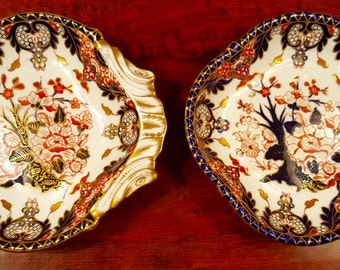 Pair of Antique Royal Crown Derby Imari Scalloped Platters