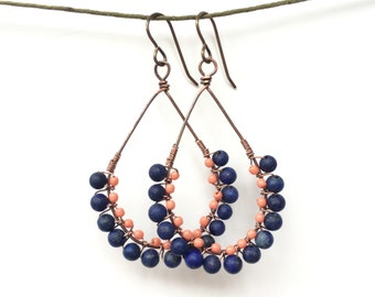 Coral and blue wire wrapped earrings