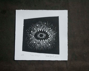 "Eye (""no title"") Woodcut Print"