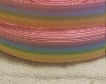 "3 yards, 5/8"" grosgrain ribbon pastel color stripes ."