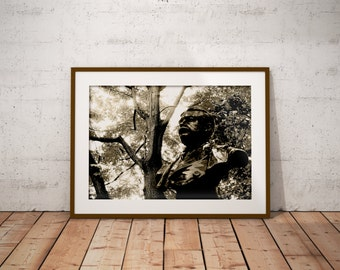 Statue, London, Nature, Vintage, Rustic, Black And White, Sepia Contrast, Giclee Print
