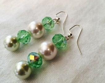 Green and White Dangle Drop Earrings