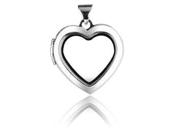 Sterling Silver Locket 18mm Window Heart Design