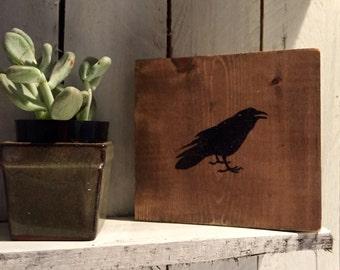 Handpainted Crow Silhouette on Wood