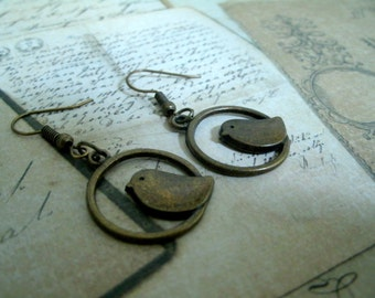 Earrings / Keychain / necklace bird cage - bronze old style / metal bronze color