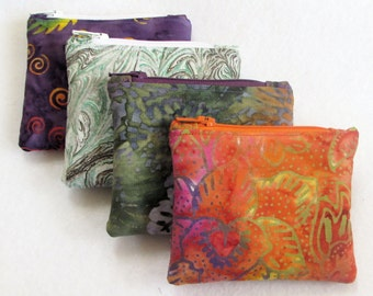 Gift Card Holder/Coin Purse/Earbud Pouch in Batik and Marbled Fabrics