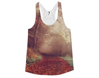 Autumn Forest Racerback Tank Top - Fall Path in the Woods Shirt For Her - Ladies Nature Autumn Trees Racerback Tanktop