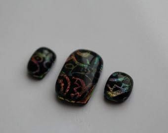 "Multi dichroic glass ""Chichén"" pendant and earring set"