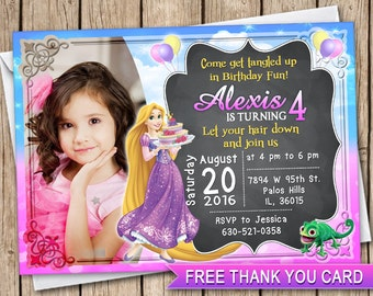 Rapunzel photo card invitation Tangled princess birthday card invitation