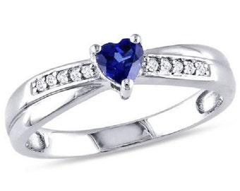 Blue Heart White Gold Ring