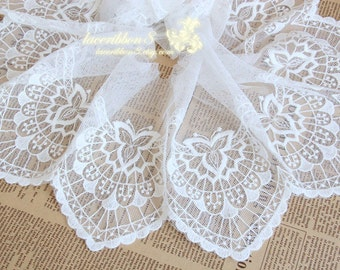 "White Lace Trim, White Floral Embroidery Lace For Wedding Bridel, Scallop Edges 5.9""/ 15cm Width - Lace Two Yards"