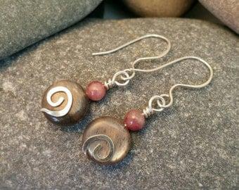 Sunstone and tourmaline earrings