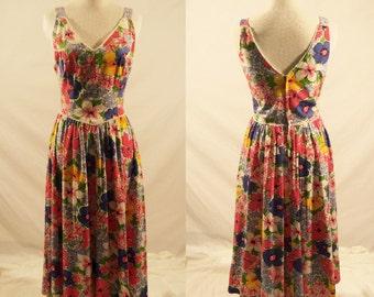 1980's Long Dress/Floral 1980's Dress/Vintage Dress