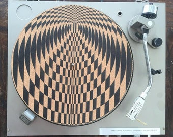 Turntable Slipmat - Specially designed Cork. Psychedelic geometric path.