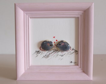 3D-Steinbild with oil paint painted: couple of mouse