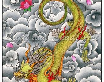 4.5x6in. - Dragon - Colored Pencil Print