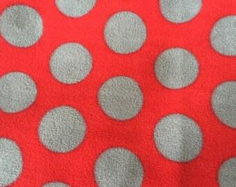 Scarlet and Gray Dot OSU Fleece Fabric, Anti Pill Fleece Fabric