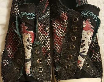 Ed Hardy laceless shoes