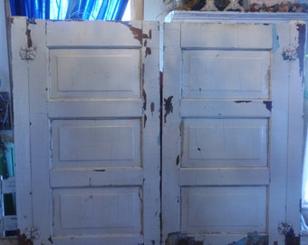 Antique/Vtg Pair Doors Architectural Salvage Chippy Old Paint