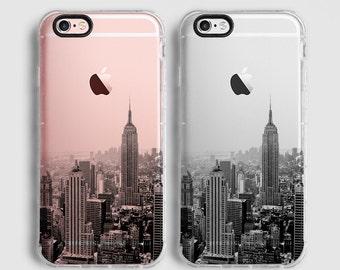 New York iPhone 7 plus case, iPhone 6 Plus case, iPhone 6 case, iPhone 7 case, iPhone SE case, clear case, black grey C056