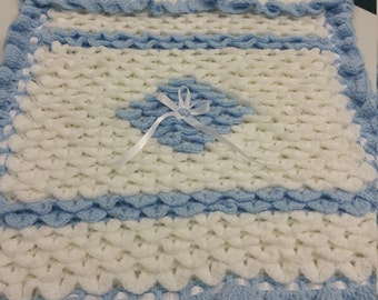 Crochet crocodile stitch baby blanket.