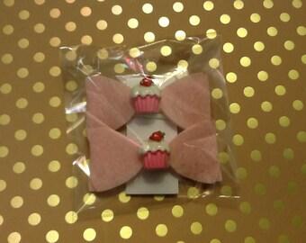 Cupcake hair clip bow