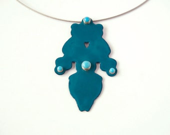 Statement necklace, enamel and turquoise