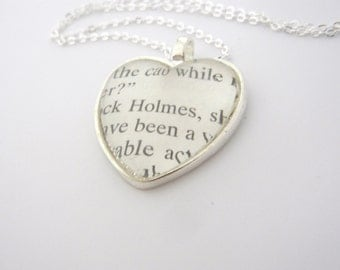 Sherlock Holmes Pipe Book heart Necklace