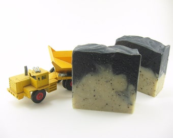 Hand Scrub Handmade Soap with juniper berry and black pepper essential oils, coffee, vegan friendly, cold process, black activated charcoal