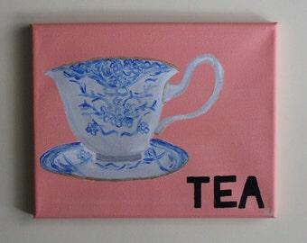 Tea, Teacup Art, Vintage Teacup, Tea Time, Tea Canvas, Kitchen Art, Dining Room Art, Home Decor, Handmade, Acrylic Painting, 8x10 Canvas