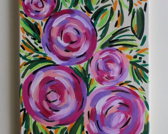 Roses, Flower Art, Flower Painting, Floral, Rose Painting, Abstract Floral, Peonies, Pink, Abstract Painting, Acrylic Painting, 11x14 Canvas