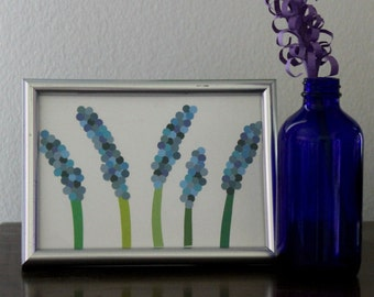 Paint Chip Art, Collage Art, Floral Art, Flower Art, Wildflowers, Paint Sample Art, Paper Flowers Art, 5x7 mat board, Frame NOT Included