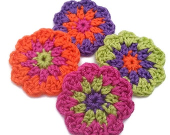 set of 4 crochet flowers Blooming large