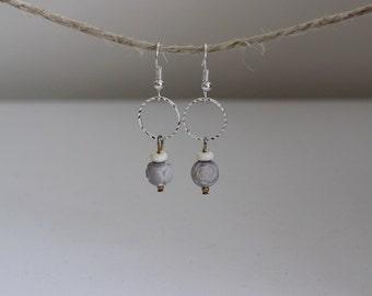 Rose circle earrings
