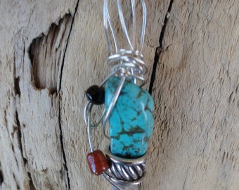 handmade neck charm wire wrapped turquoise bead-SOLD