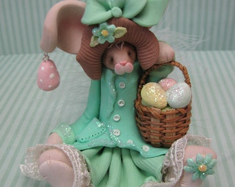 FREE SHIPPING! Polymer Clay Art Easter Bunny Rabbit in Teal Dress Sculpture