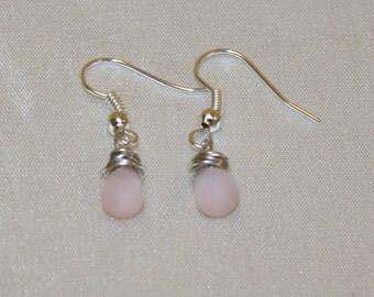 frosted pink Czech teardrop glass bead sterling silver wire wrapped dangle earrings