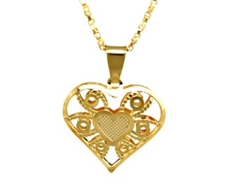 Heart Necklace/14K Gold Filled/Love Charm/Gold Necklace/Intricate design