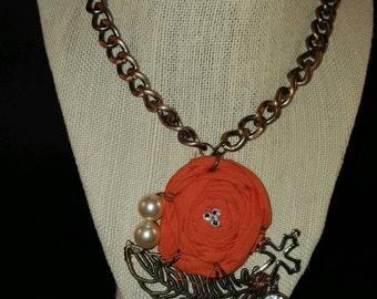 Hand wired orange flower necklace