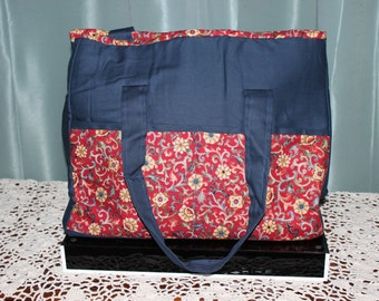 Large Tote Blue with Red Pockets and Gold Flowers