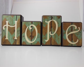 Hope Wood Block Set with Rustic Background #2