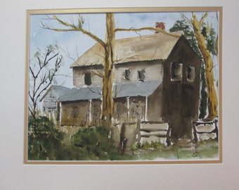 OLD HOUSE, ORIGINAL Watercolor By C.M. Anderson