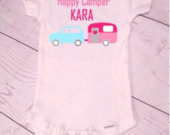 Happy Camper Onsie - personalized with your child's name