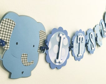 Blue elephant IT'S A BOY banner