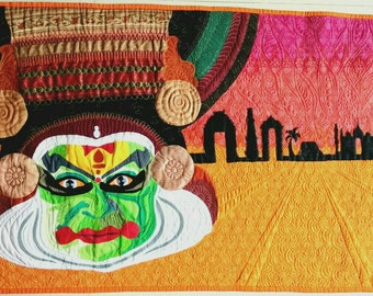Wall art quilt, Colors of India, kathakali quilt, Christmas gift, house warming gift, art quilt, colorful wall art, art sale, Indian art