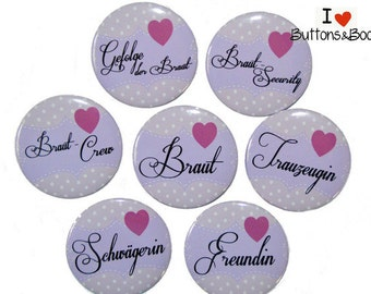 10 x hen party heart JGA wedding set purple lilac wedding team bride set large 50 mm