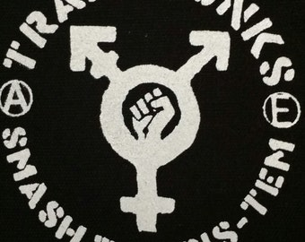 "Trans Punks ""Smash The Cis-tem"" back patch"