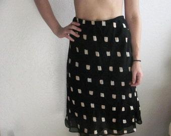 Vintage 60's 70's Pencil Skirt Navy and Tan Rectangle Print//Funky Vintage Printed Midi Skirt//